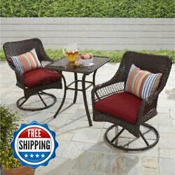 Outdoor Bistro Set Patio Dining Furniture Garden 3 Piece Wicker Table Chairs 1d