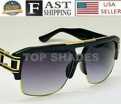 Men#x27;s Sunglasses Designer Fashion Oversized Square Gold Metal Bar Thick Frame