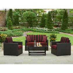 Outdoor Dining Set Patio Garden Furniture 4 Piece Wicker Table Chairs Yard Deck