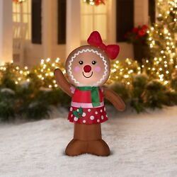 Gemmy Airblown Inflatable Christmas Outdoor Yard Decorations Gingerbread Lawn 1d