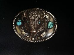 Native American Hand-Made Western Belt Buckle-Decorated with TurquoiseCoral