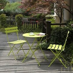 Folding Patio Bistro Set Outdoor 2 Chairs Garden Space Saving Furniture Green