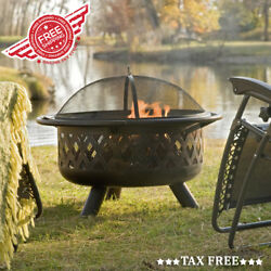 36 inch Wood Burning Bowl Fire Pit Outdoor Patio Fireplace With Grill And Cover