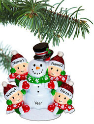 Personalized Christmas Tree Ornaments Family of 2 3 4 5 Gift Snowman Ornament