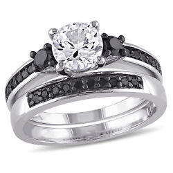 Amour Created White Sapphire and 25ct TDW Black Diamond Bridal Ring