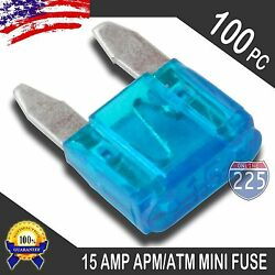 100 Pack 15A Mini Blade Style Fuses APMATM 32V Short Circuit Protection Fuse US