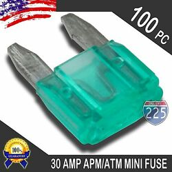 100 Pack 30A Mini Blade Style Fuses APMATM 32V Short Circuit Protection Fuse US