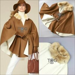 $20K RARE Loro Piana VICUNA Cashmere Chinchilla Fur Reversible Cape Coat Jacket