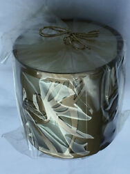 Natural Paraffin Pillar Candle Decorative Butterfly Design Gold Metal Holder NEW $14.99