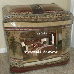 NEW Croscill OAKWOOD Rustic DEER Lodge Cabin MOUNTAIN 4pc KING COMFORTER SET