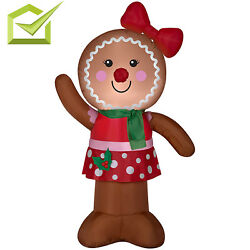 Inflatable Gingerbread LED Light Outdoor Backyard Christmas Home Decoration Yard