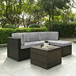 Crosley Furniture Palm Harbor All Weather Wicker 5 Piece Outdoor Sectional Sofa