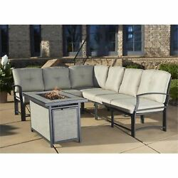 Outdoor Patio Dining Furniture Set Gas Fire Pit Table Backyard Fireplace 7 Piece