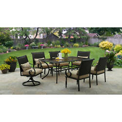 7 Patio Dining Set Outdoor Garden Furniture Swivel Chairs Table Yard Deck Lawn
