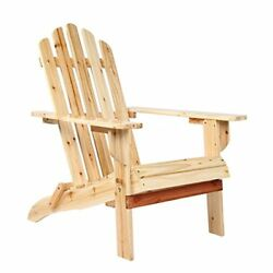 Wooden Adirondack Chair With Clear Lacquer Painted Garden Furniture