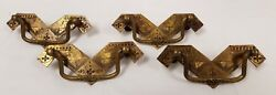 Set of 4 Antique Brass Arts & Crafts Aesthetic Movement Drawer Handles 3