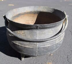 Antique Cast Iron Ringed Cauldron Garden Planter Tri Footed Campfire Kettle Pot