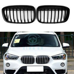 Hi-Q Fit For BMW X1 F48 2016  1line matte black Front Grill Grille Cover 2pcs