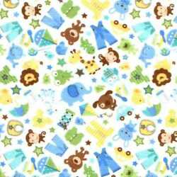 05755 Boys Are Made of Toys White - Flannel Fat Quarter