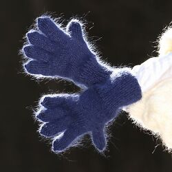 Blue Hand knitted mohair gloves soft ski winter hand warmers by SUPERTANYA