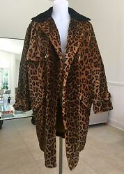 GIANNI VERSACE leopard faux fur coat quilted w fur collar size 44 from 1994