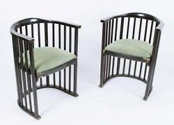 Rare Pair Of Vintage Secessionist Barrel Back Armchairs By Josef Hoffmann