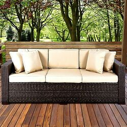 Outdoor Wicker Patio Furniture Sofa 3 Seater Luxury Comfort Brown Wicker Couch