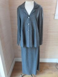 IVY Lagenlook Long Skirt Long Jacket Casual Suit sz M 8 Woven Linen Rayon  $31.99