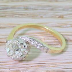 ART DECO 0.92ct OLD CUT DIAMOND SOLITAIRE CROSSOVER RING - 18k & Plat - c 1920