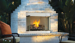 Superior's WRE3036WS White Herringbone Liner Outdoor Vent-Free Gas Fireplace 36
