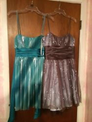 Junior Party Dress size medium spaghetti strap turquoise and brown blue flare $4.00