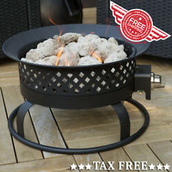 Portable Outdoor Propane Fire Pit Bowl Patio Gas Fireplace Heater + Tank Table