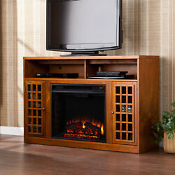 Electric Fireplace TV Stand Entertainment Media Center Heater Wood Console