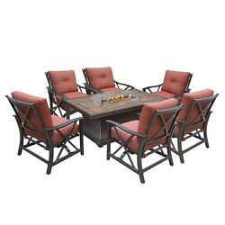 Outdoor Patio Chat Conversation Set Seating Stone Firepit Table Fire Pit Sets