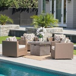 Puerta Outdoor 4-piece Wicker Swivel Chair Set with Square Firepit by Christophe
