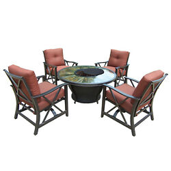 Outdoor Patio Table Gas Fire Pit Heater Fireplace Backyard Firepit Furniture Set