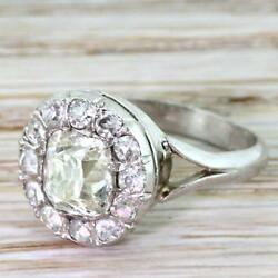 ART DECO 1.69ct OLD MINE CUT DIAMOND CLUSTER RING - Platinum - FRENCH c 1925