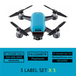 Spark Drone Blue Drone Labels Display FAA UAS Registration and Phone Number $5.97