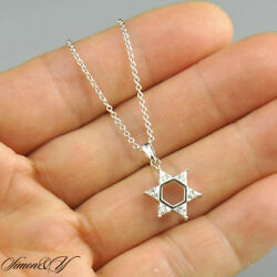 Sterling Silver CZ Jewish Star Of David Pendant Necklace Rhodium Finish 16quot; 18quot; $19.99