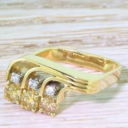 MODERNIST FANCY DEEP YELLOW & WHITE DIAMOND TRILOGY - 18k Gold - dated 1978