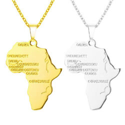 Africa Necklace Gold Color Pendant Chain African Map Gift for MenWomen Jewelry