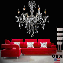 Ridgeyard Clear Crystal Chandelier Lighting 6 Light Fixture Pendant Ceiling Lamp