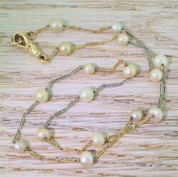 LATE 20th CENTURY NATURAL PEARL CHAIN NECKLACE - 18k Yellow & White Gold -c 1970