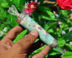 Chakra Green Ruby In Fuchsite Healing Wand With Crystal Angel & Crystal Pencil