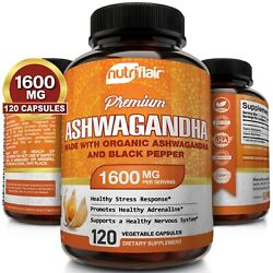 ☀ Organic Ashwagandha Capsules 1600mg 120 Capsules with Black Pepper Root Powder $14.99