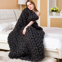 Fashion Hand Chunky Knitted Blanket Thick Yarn Merino Wool Bulky Knitting