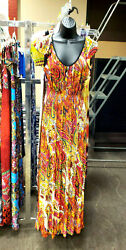 Yellow Red Pink Multicolor Maxi Long Cocktail Sleeves Sun Summer Dress S M L XL $37.49