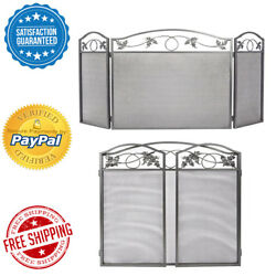 3Panel Pewter Wrought Iron Fireplace Screen Outdoor Metal Decorative Baby Safe