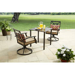 Patio Furniture Dining Set Garden Bistro Lounge 3 Piece Swivel Chairs Table Deck