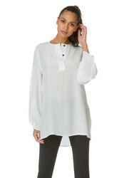 Sportsmax Pisano Silk Blouse Milk White UK Size 16 RRP £250
